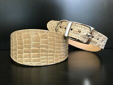 LARGE Leather Dog Collar LINED Greyhound Lurcher Whippet Saluki BEIGE REPTILE