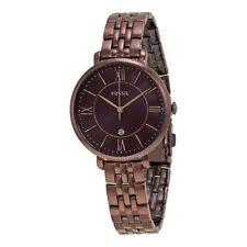 Fossil Ladies Jacqueline Dark Red Dial Brown Metal Bracelet Watch ES4100