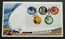 1996 New Zealand Sports Atlanta Olympic Games Mini-Sheet Stamps MS on FDC