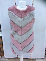 Stunning Yu & Me Pink & Grey Chevron Long Line Faux Fur Gilet - BNWT