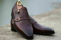 Chaussures habillées Brogue à double sangle en cuir marron véritable pour hommes