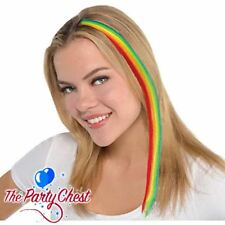 """15"""" RAINBOW CLIP IN HAIR EXTENSION Gay Pride Emo Punk Rave Hair Accessory 391579"""