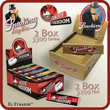 3300 Cartine SMOKING GOLD SLIM LUNGHE + FILTRI CARTA ENJOY FREEDOM 2 BOX 100 Pz.