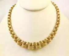 Italian 14k Yellow Gold Classic Bold Fancy Graduating Open Link Collar Necklace