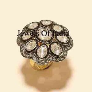 victorian Jewelry Natural Rose Cut Diamond & Polki 925 Sterling Silver Ring
