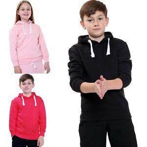 Kids Unisex Plain Pullover Hoodie Girls Boys Hooded Top Sweatshirt 7/8 to 13 Yrs