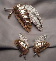 Vintage Pennino Leafy Spray Brooch & Earrings Set - 2 Tone with Rhinestone Pave