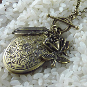 OVAL LOCKET VINTAGE VICTORIAN STYLE LONG NECKLACE BRONZE CHAIN HANDMADE