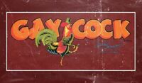GAY COCK STRUTTING ROOSTER CANE HAT HEAVY DUTY USA MADE METAL ADVERTISING SIGN