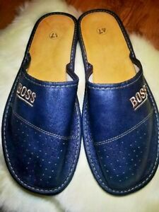 MENS 100% NATURAL LEATHER BOSS SLIPPERS MULES CLOGS SHOES  BLUE SIZES 15,16