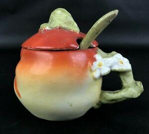 Antique Vintage Mustard Pot Porcelain Figural Peach Blossoms Branch Handle+SPOON
