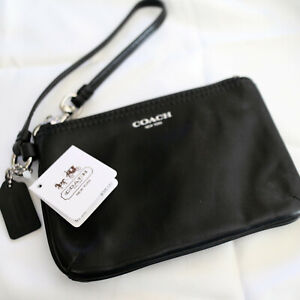 NWT Coach Black Legacy Leather Small Wristlet/ Universal Pouch 48179 NEW