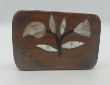 Antique Georgian Wood & Mother Or Pearl Tobacco Snuff Box Floral Design