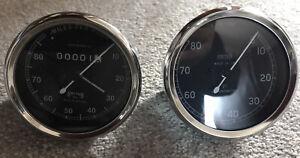 Replica Chronometric  Mechanical Rev 0-8000 Rpm  And Speedometer 0-80 Mph