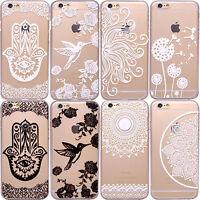 HENNA Mehndi Hamsa Hand Mandala Paisley Bird Clear Phone Case iPhone 7 Plus 8 6