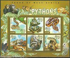 SIERRA LEONE 2015  FAUNA OF WEST AFRICA PYTHONS SHEET MINT  NH