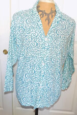 Vintage Bvd Aqua White Cotton Pajama Top Shirt Size B Chest 44