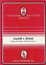 LLANELLI v BRISTOL 18 Oct 1983 RUGBY PROGRAMME