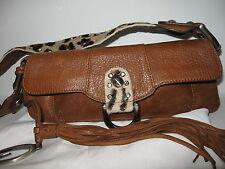 RARE GUESS genuine leather calf hair leopard print mini purse with tassel
