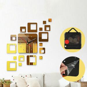 Modern DIY 3D Large Wall Clock Mirror Surface Sticker Art Design Home Decor UK