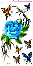 KH Big Sea Blue Rose with Butterflies Temporary Tattoos HM114A New Arrival!!