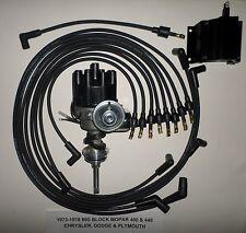 MOPAR 440 1973-78 BLACK Small Female Cap HEI Distributor, coil, Spark Plug Wires