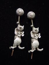 JJ Jonette Jewelry Silver Pewter KITTEN Playing w/ Ball of Yarn Pierced Earrings