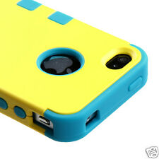 APPLE iPHONE 4 4S MULTI LAYER TUFF HYBRID CASE ACCESSORY YELLOW/TEAL