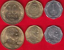 Chile set of 3 coins: 1 - 10 pesos 1992-1998 UNC