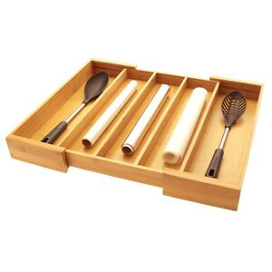 Bamboo Expandable Utensils Flatware Cutlery Tray Kitchen Drawer Insert Organiser