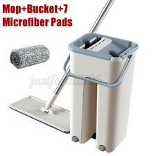 Flat Squeeze Mop And Bucket Hand Free Wringing Floor Cleaning Mops with 7 Pads