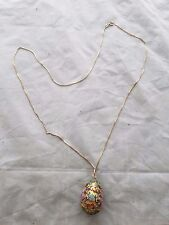 Vintage sterling silver necklace enamel egg