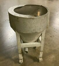 Stainless Cone Bottom Feeder Tank On Caster Wheels 36h X 23 Dia 2 Outlets