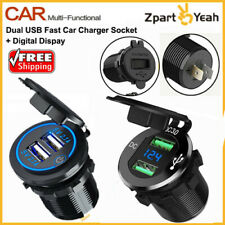 Qc 3.0 Dual Usb Fast Car Charger Outlet Socket For Car Truck Boat Waterproof+Led