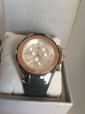 Michele Tahitian Jelly Bean Chronograph Black & Rose Gold Watch MWW12F000059 NEW