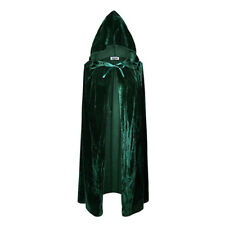 Hooded Velvet Cloak Wicca Robe Medieval Witchcraft Cape Halloween Costume Unisex
