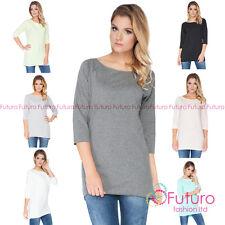 Womens Asymmetric Plain Top  3/4 Sleeve Tunic Blouse T Shirt Size 8-14 FT2108