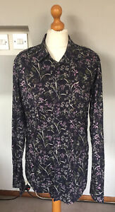 TED BAKER MENS NAVY BLUE FLORAL FABULOUS SHIRT SIZE 3 38 CHEST