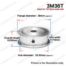 3M-36T Timing Belt Drive Pulley Wheel D-shaped Bore 3mm Pitch for 10/15mm Belt