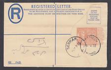 Sudan H&G C14 used. 1954 4½p Registered Envelope,1958 Sennar usage, sound, Vf