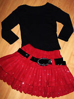 GIRLS BLACK TOP & RED SPARKLE PRINT WINTER RUFFLE SKATER PARTY SKIRT age 3-4