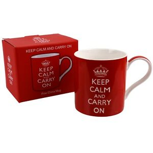 Keep Calm and Carry On Mug/Cup Gift Boxed The Leonardo Collection Red