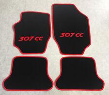 Autoteppiche Fußmatten für Peugeot 307cc Cabrio schwarz rot 2003-08 4teilg Neu