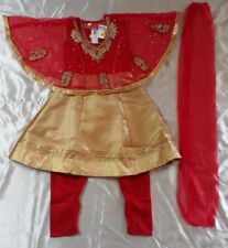 16 Age 0 6 Months Bollywood Poncho Salwar Kameez Indian Girls Dress Red Gold B1