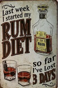 RUM Garage Rustic Look Vintage Tin Signs Man Cave Shed & Bar Sign