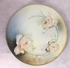 VINTAGE ROYAL RUDOLESTADT PRUSSIAN HAND PAINTED DECORATIVE PLATE WITH PINK ROSES