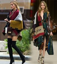 Celebrity Runway Wool Cashmere Personalized Monogram Colour Blanket Poncho Cape
