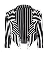 ladies halloween theme black & white stripe  jacket crop blazer plus size 8 - 22