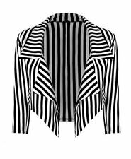 ladies halloween theme black & white stripe  jacket crop blazer plus size 8 - 22