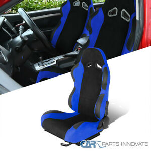 Black/Blue Suede Stitch PVC Leather Reclinable Driver Side Racing Seat w/Sliders